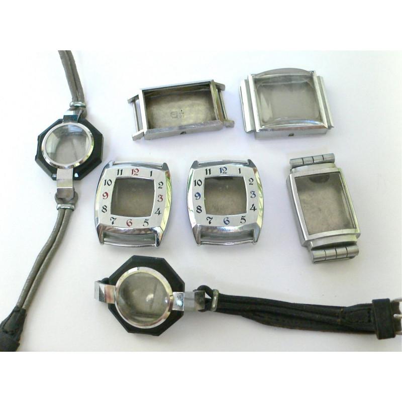 Lot de boitiers de montres anciennes des années 40 neuves