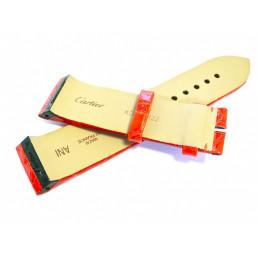 bracelet CARTIER SANTOS 100 femme croco Orange electrique - 20mm