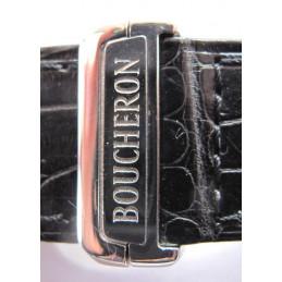 Bracelet croco noir BOUCHERON avec boucle déployante 24mm