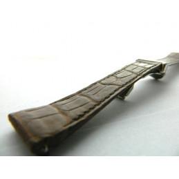 bracelet avec boucle déployante BOUCHERON croco marron 19mm