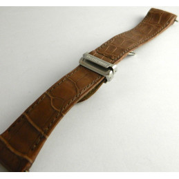 bracelet avec boucle déployante BOUCHERON croco marron 22mm