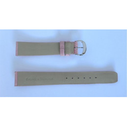 Bracelet Baume & Mercier croco rose avec boucle acier - 16 mm