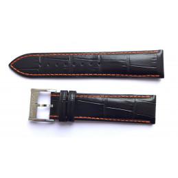 Bracelet cuir noir HAMILTON 22mm avec boucle acier