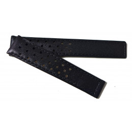 HEUER black leather strap for deployant buckle
