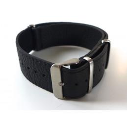 NATO Bracelet cuir noir  22  mm