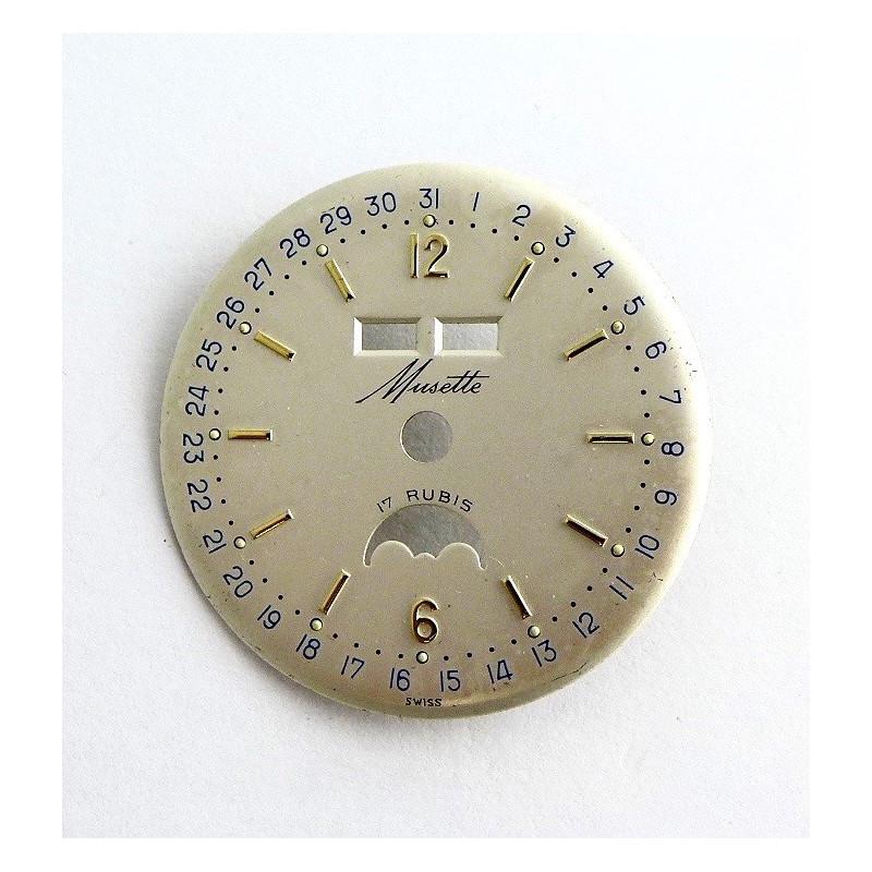 Triple date  phase de lune dial  - 30,41 mm