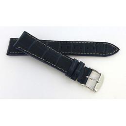 Bracelet croco rembordé avec boucle acier 20  mm