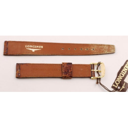 Longines, crocodile strap with gold plated buckle 16mm