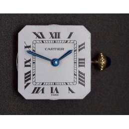 Cadran mouvement aiguilles couronne Cartier mécanique