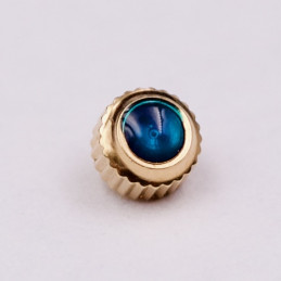 Hermes dust-proof golden crown with blue stone