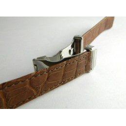 BOUCHERON brown croco strap 19mm with deployant buckle
