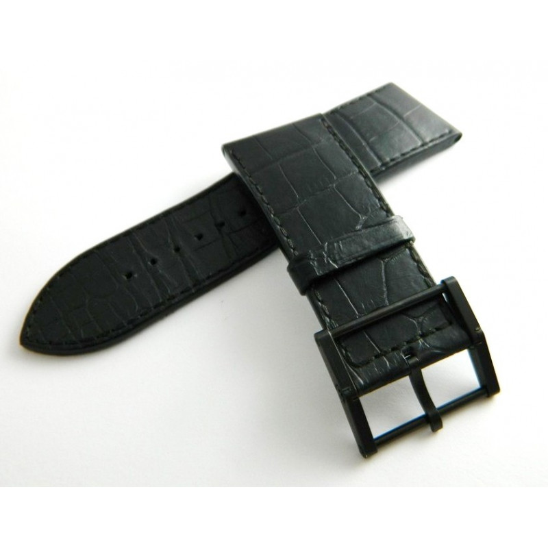 Bracelet crocodile noir CHAUMET 26mm avec boucle pour modèle Tourbillon Marc Alfieri