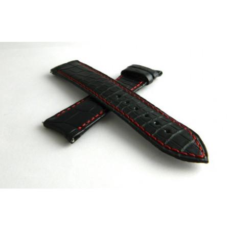 bracelet F.P Journe croco noir avec surpiqures rouges 20mm