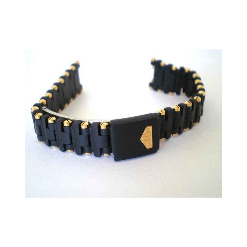 bracelet HEUER noir/doré 16mm