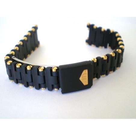 bracelet HEUER Sel noir/doré 16mm