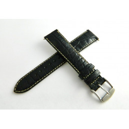 Black calf strap 18mm with steel buckle