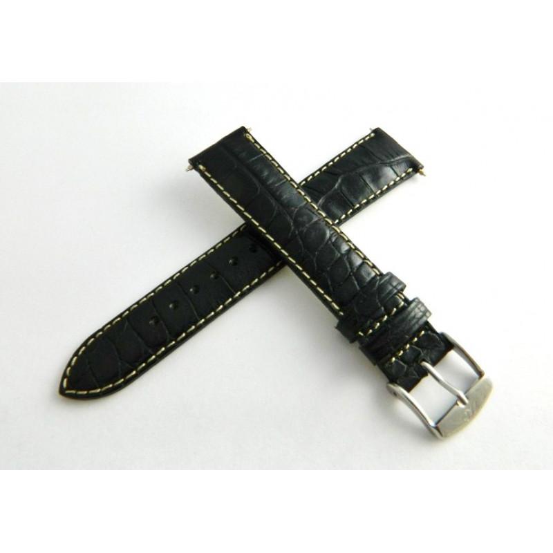 Bracelet veau noir 18mm avec boucle ardillon acier