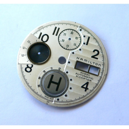 white HAMILTON dial for valjoux 7750 chronograph - diameter: 30,19mm