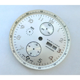 white HAMILTON dial for valjoux 7750 chronograph - diameter: 39,29,2mm