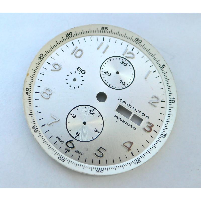 Cadran blanc HAMILTON pour chronographe valjoux 7750 - diamètre: 39,2mm