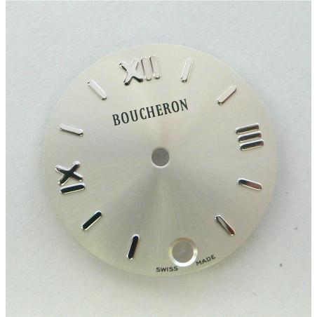 cadran Boucheron SOLIS argenté rond avec dateur - 23mm