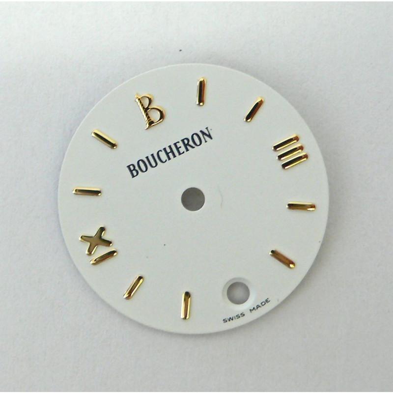 cadran Boucheron SOLIS blanc rond avec dateur - 20mm