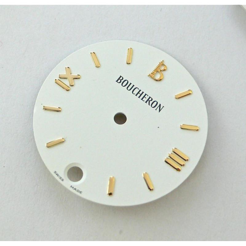 cadran Boucheron SOLIS blanc rond avec dateur - 23mm