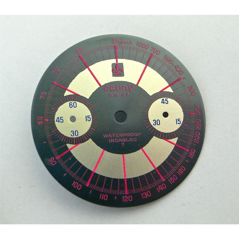 Cadran de chronographe CAUNY pour valjoux 7733 - diamètre 30 mm